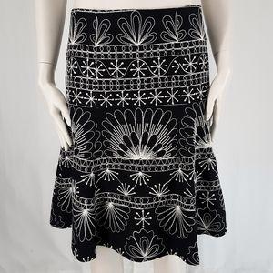 Nanette Lepore | Black Floral Embroidered Skirt